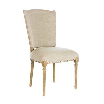 Ethan Upholstered Dining Chair (Set of 2) Leg Color: Barnwood, Upholstery Color: Textured Linen