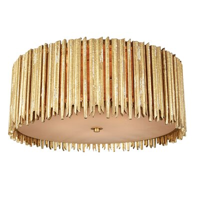 Crown and Glory Flush Mount Fixture Finish: Distressed Gold, Size: 9.3 H x 22 W x 22 D