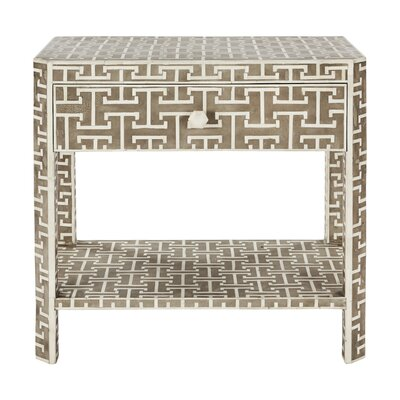 Hermes End Table with Storage Color: Gray