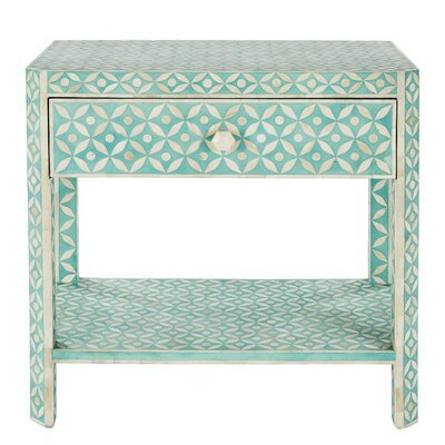 Ecliptic End Table with Storage Color: Bay Blue
