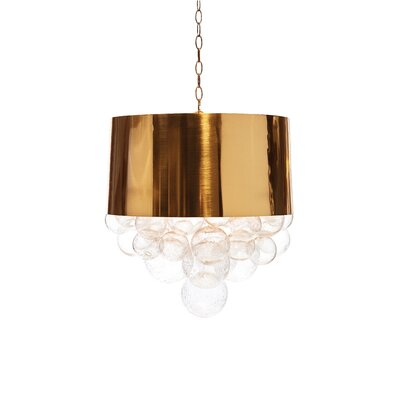Orb Fanning Drum Pendant Shade Color: Antique Brass
