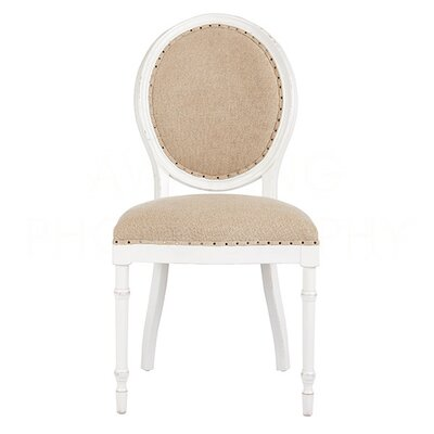 Grace Upholstered Dining Chair Color: Waxed White/Textured Linen