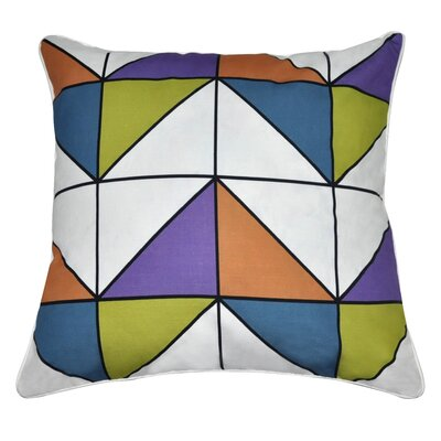 Geometric II Cotton Throw Pillow Color: Orange, Blue, Green, Purple, White and Black