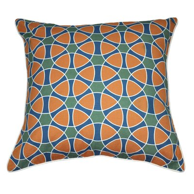 Jessica Decorative Cotton Throw Pillow Color: Orange / Blue / Dark Green / White