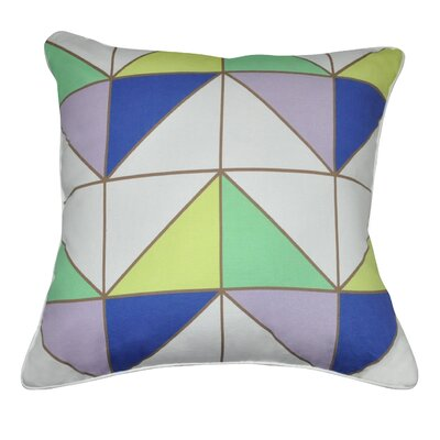 Geometric II Cotton Throw Pillow Color: Mint, Lavender, Blue, Yellow, Brown and White