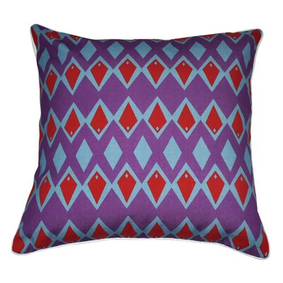 Leslie Decorative Cotton Throw Pillow Color: Purple / Light Blue / Red & White