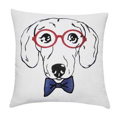 Dachshund Decorative Cotton Throw Pillow Color: White