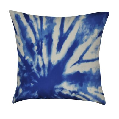 Tie-Dye Decorative Cotton Throw Pillow Color: Blue