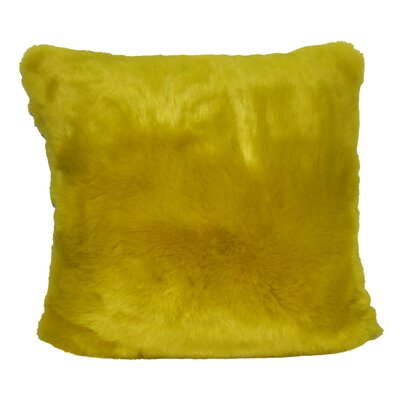 Fur Decorative Throw Pillow Color: Yellow