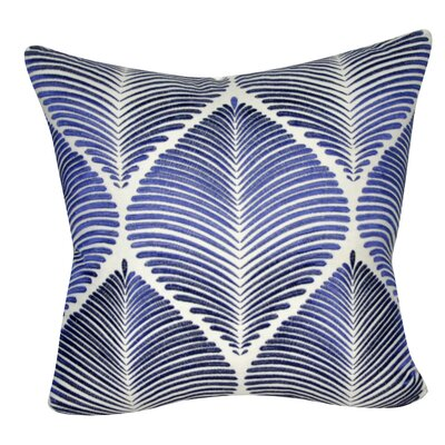 Leaf Throw Pillow Color: White/Blue