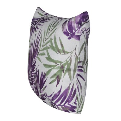 Tropical Leaf 100% Polyester Throw Pillow Color: Purple