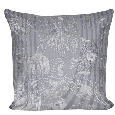 Linear Flower Throw Pillow Color: Gray