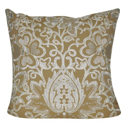 Paisley Flower Throw Pillow Color: Tan