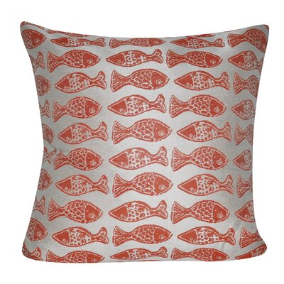 Fishes Indoor/Outdoor Throw Pillow Color: Coral