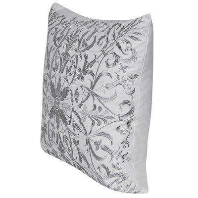Baroque Floral Throw Pillow Color: Silver