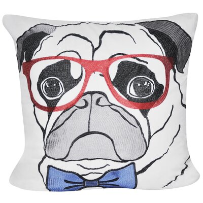 Pug with Glasses Throw Pillow