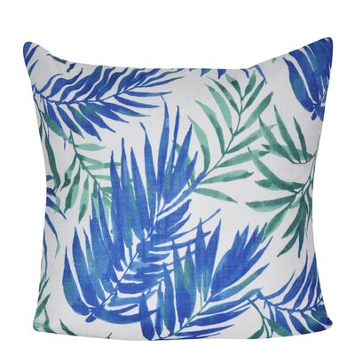 Tropical Leaf 100% Polyester Throw Pillow Color: Blue