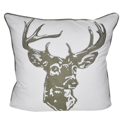 Stag Throw Pillow Color: Dark Sage