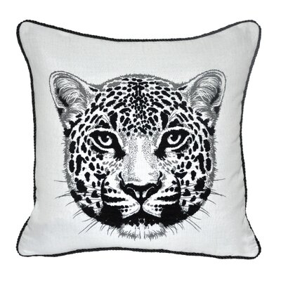 Animal Heads Cheetah Throw Pillow Color: Black
