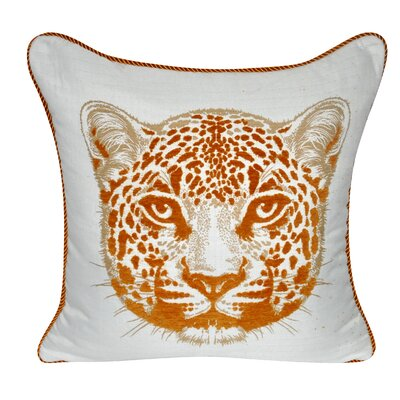 Animal Heads Cheetah Throw Pillow Color: Orange