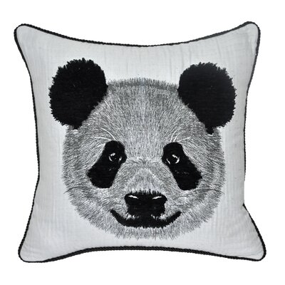 Animal Heads Panda Throw Pillow Color: Black