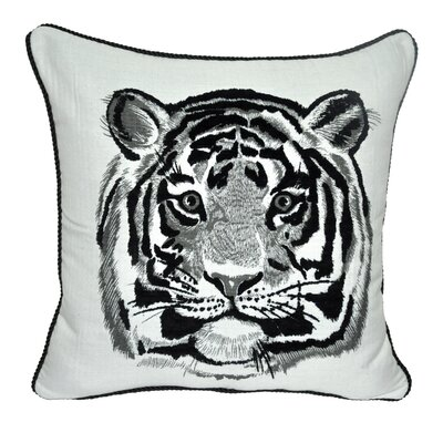 Animal Heads Tiger Throw Pillow Color: Black