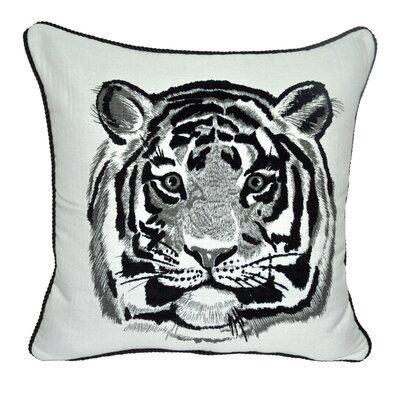 Animal Heads Tiger Throw Pillow Color: Black
