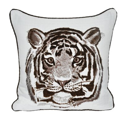 Animal Heads Tiger Throw Pillow Color: Brown