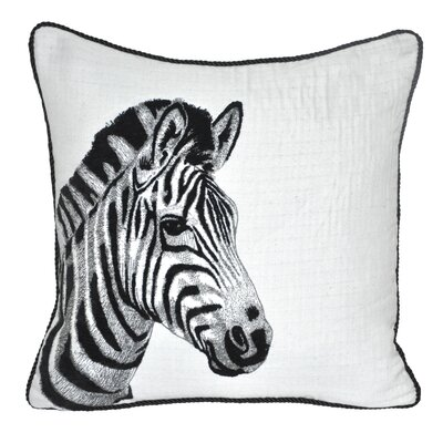 Animal Heads Zebra Throw Pillow Color: Black