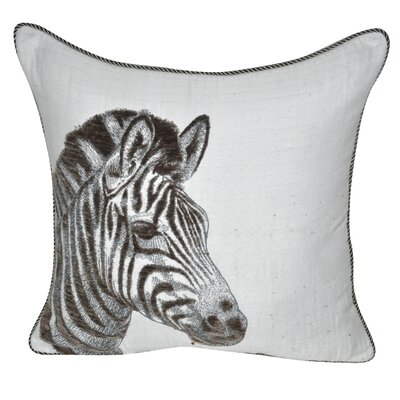 Animal Heads Zebra Throw Pillow Color: Olive
