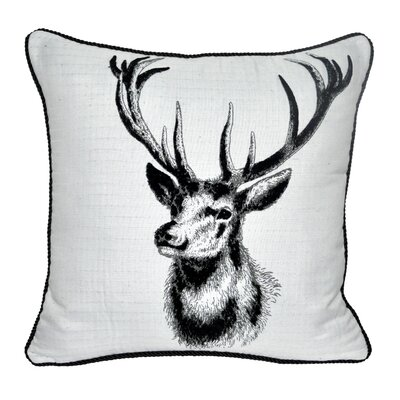 Animal Heads Stag Throw Pillow Color: Black