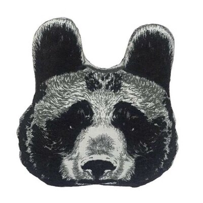 Animal Heads Bear Head Throw Pillow Color: Black