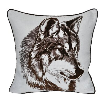 Animal Heads Wolf Throw Pillow Color: Brown