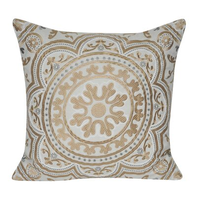 Agra Flower Cotton Throw Pillow Color: Gold