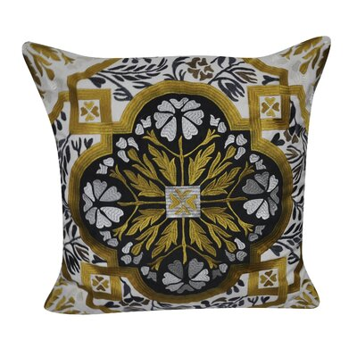 Flower Cotton Throw Pillow Color: Gold