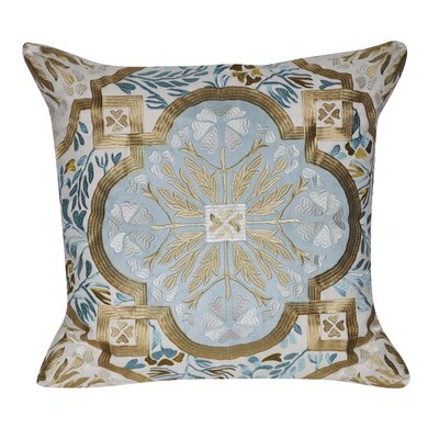 Flower Cotton Throw Pillow Color: Light Blue