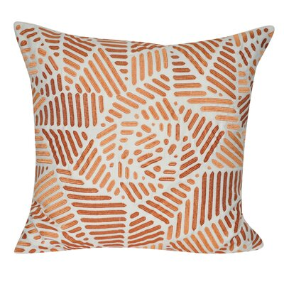 Gometric Rose Cotton Throw Pillow Color: Orange