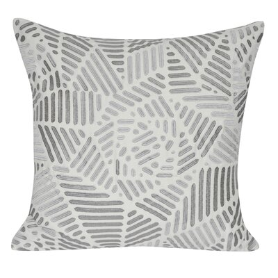 Gometric Rose Cotton Throw Pillow Color: Gray