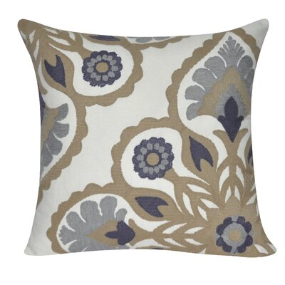Moroccan Flower Cotton Throw Pillow Color: Taupe
