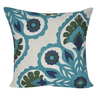 Moroccan Flower Cotton Throw Pillow Color: Teal