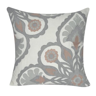 Moroccan Flower Cotton Throw Pillow Color: Gray