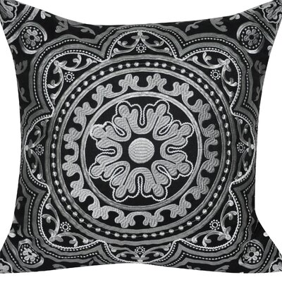 Agra Flower Cotton Throw Pillow Color: Black