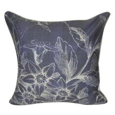 Plaid Flowers Decorative Throw Pillow Color: Navy