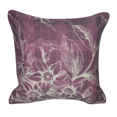 Plaid Flowers Decorative Throw Pillow Color: Purple