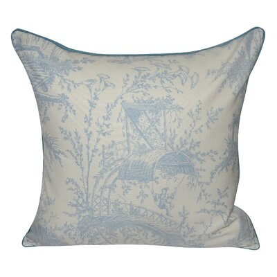 Tea Garden Toile Decorative Throw Pillow Color: Light Blue