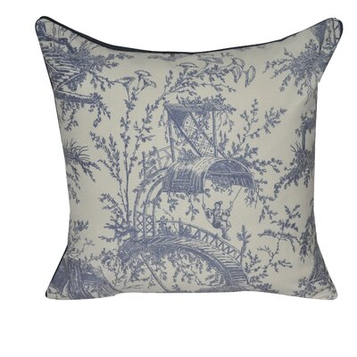 Tea Garden Toile Decorative Throw Pillow Color: Dark Blue