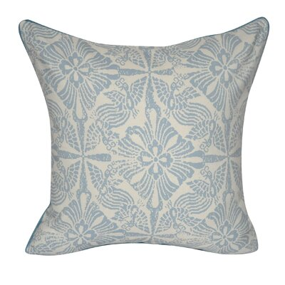 Stamped Flowers Decorative Throw Pillow Color: Light Blue