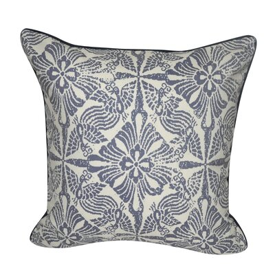 Stamped Flowers Decorative Throw Pillow Color: Indigo