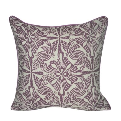 Stamped Flowers Decorative Throw Pillow Color: Purple