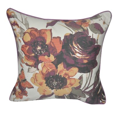 Denim Roses Decorative Throw Pillow Color: Orange/Purple